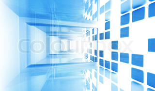 Abstract architecture background Empty blue modern corridor interior with technological blueprints lines