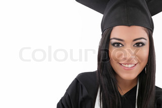 Educational theme: graduating student girl in an academic gown Isolated over white background