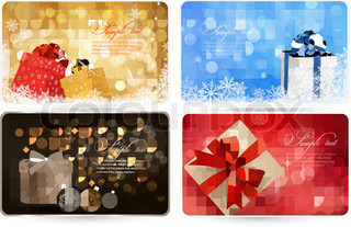 Collection of Christmas backgrounds with gift boxes and snowflakes  Vector illustration