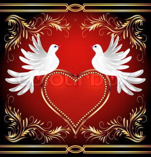Two dove and heart