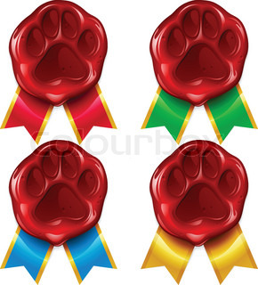 Dog or cat paw wax seal and color ribbon