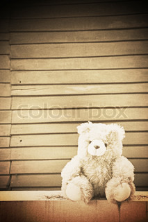 Teddy bear on old wood background