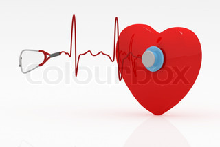 Heart and a stethoscope with heartbeat