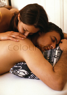 Image of 'couple, bed, happy'