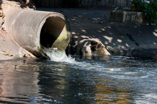 Dirty drain, Water pollution in river