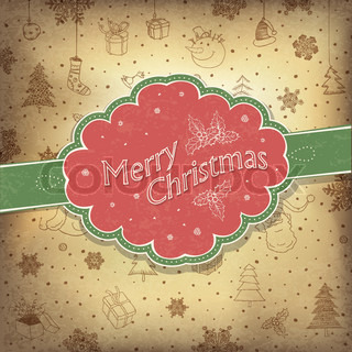 Merry Christmas vintage background Vector illustration, EPS10