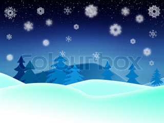 Winter night illustration