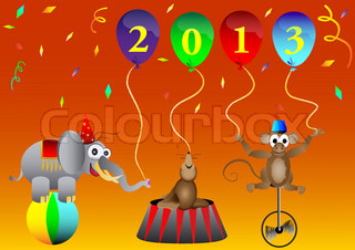 circus animal New 2013 Year balloons party decoration vector illustration