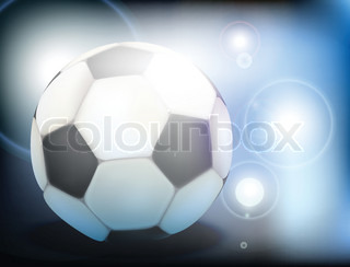 Soccer ball in the floodlights and bright highlights on a blue background