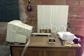 College desk with computer