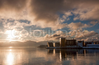 Waterfront buildings at sunset at Tromso Norway