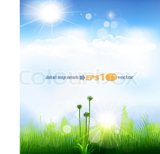 vector background with a blue sky, grass and sun