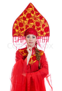 Woman in russian traditional clothes Isolated on white