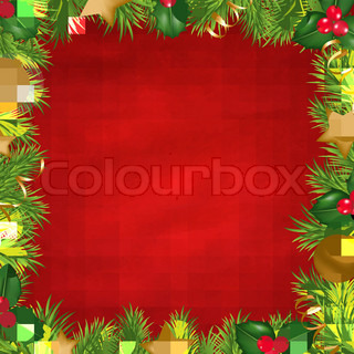 Vintage Red Background With Christmas Border