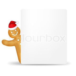 Gingerbread Man With Santa Hat And Blank Gift Tag