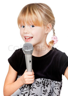 Child with microphone singing