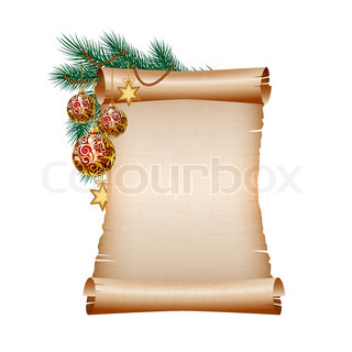 Old blank scroll paper with red christmas balls on green spruce branch vector illustration on white background