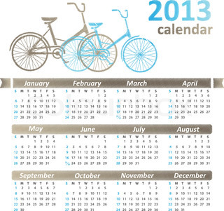 2013 modern vector calendar with bicycle