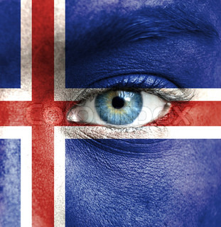 Human face painted with flag of Iceland