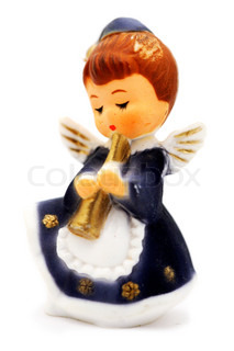 close-up of pretty angel figurine isolated on white