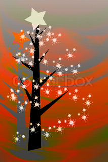 painted christmas card with white stars and black tree on wavy orange background