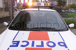 Close-up of police car