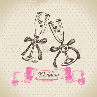 Wedding wineglasses Hand drawn illustration