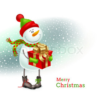 Smiling snowman dressed in winter clothing and holding in hands a gift - vector illustration