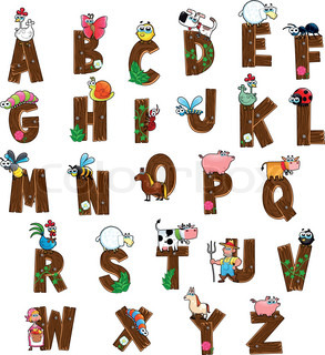 Alphabet with animals and farmers.