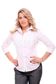 Portrait of 40 years old woman in office suit