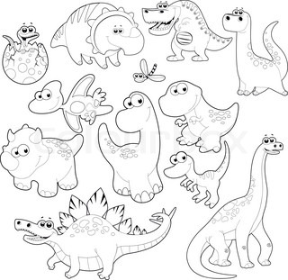 Funny dinosaurs Black and White