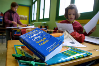 Children in primary school with books on table in the foreground