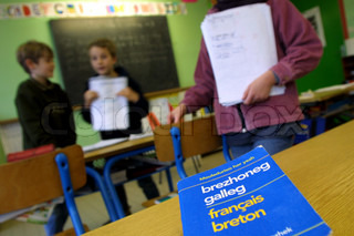 Children in primary school with textbook in foreground