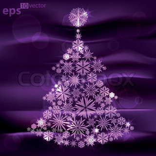 Christmas tree made of snowflakes over dark violet silk fabric background