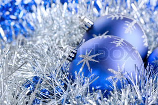 blue christmas balls with tinsel