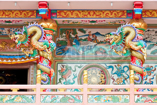chinese style dragon statue, temple in Thailand