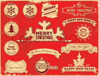 Set of Christmas vintage labels