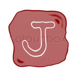 A Reddish Brown Stone of Alphabet Letter J