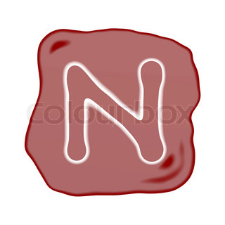 A Reddish Brown Stone of Alphabet Letter N