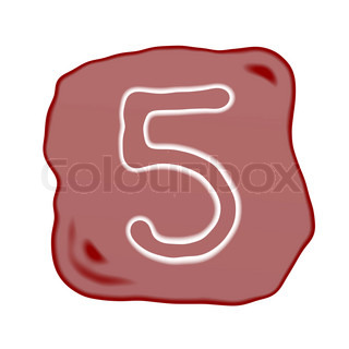 A Reddish Brown Stone of Alphabet Number 5
