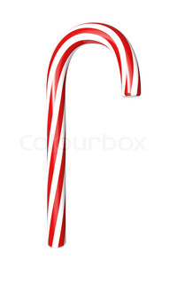 Red and white candy cane isolated on white background.