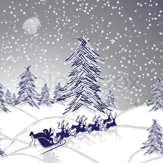 Winter christmas landscape, forest tree, snow background, seamless wallpaper.Christmas deer and Santa Claus. Stars on winter sky as symbol of xmas. Holiday background. Vector design element.
