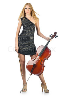 Woman performer with cello on white