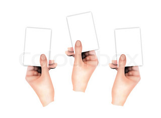 Three Hands Holding Blank Business Cards