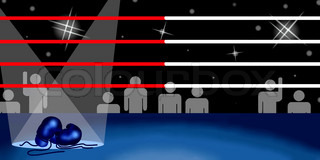 Background of Boxing Ring and Boxing Gloves