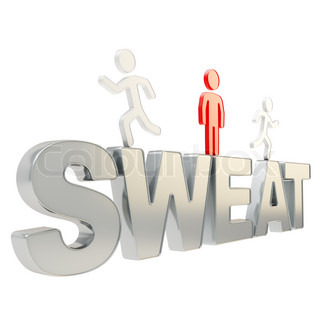 Human running symbolic figures over the word Sweat