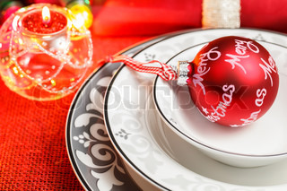 plate with christmas ball