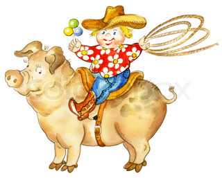 A happy little cartoon boy with a lasso and rattle riding pig