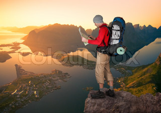 man hiking in Lofoten