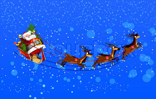 background with Santa Claus flying his sleigh through the night sky